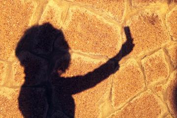 taking selfie on shadow