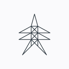 Electricity station icon. Power tower sign.