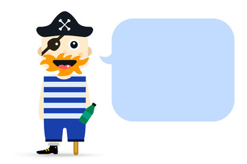 Halloween captain pirate character costume isolated vector