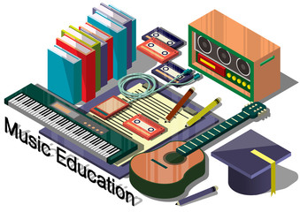 illustration of info graphic music education concept in isometric graphic