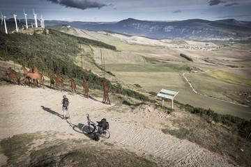 landscape of el Perdon mountain range, monument to the pilgrim's way to Compostela, Spain