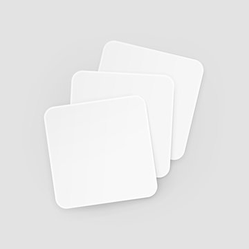 White Square Blank Beer Coasters Vector Isolated