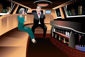 Retired Couple in a Limousine