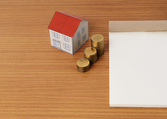 Mortgage loans concept with paper house with coins stack and not