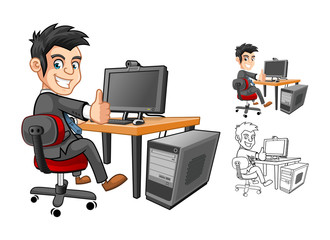 High Quality Officer or Employee or Business Man Sitting at The Table Cartoon Character working with Computer and Thumbs Up Hand Gesture Include Flat Design and Outlined Version Vector Illustration