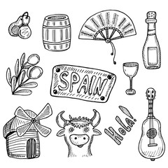 Hand drawn collection of Spanish symbols in doodle technique