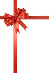 Red gift ribbon and bow vertical