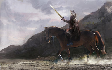 knight on horse going in battle