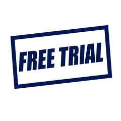 free trial blueblack stamp text on white