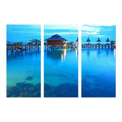 seascape photo collage frame on isolated background