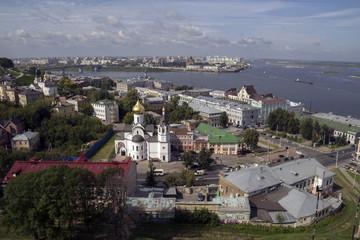 Панорама Нижнего Новгорода со стен Кремля.