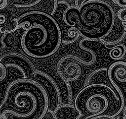 Abstract vector seamless pattern with ornamental curling lines and doodles. Endless decorative texture
