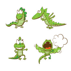 Four cute cartoon dragons. Vector set.
