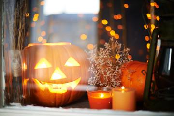 Jack-o-lantern and candles