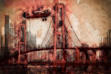 Brücke und Flugzeug