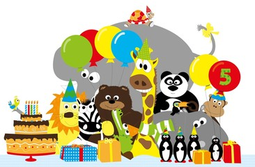 group of wild cartoon animals and 5 th birthday party elements: cake, balloons. hats, gifts / vectors for children
