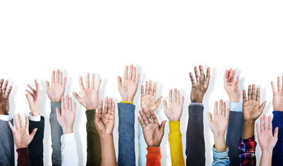 Group of Hands Arms Raised Vounteer Concept
