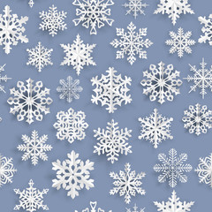 Christmas seamless pattern with paper snowflakes