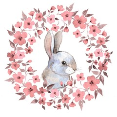 White rabbit. Rabbit and floral wreath. Watercolor illustration 2