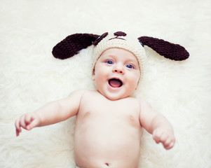 Funny newborn boy