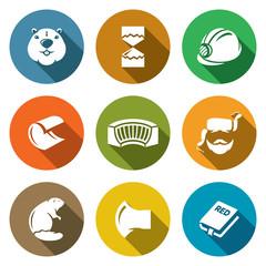 Beaver Icons Set. Vector Illustration.