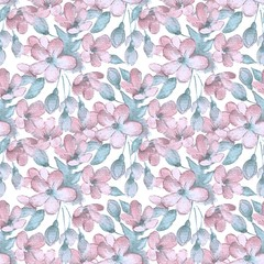 Branch with delicate flowers. Watercolor wreath 4. Seamless pattern