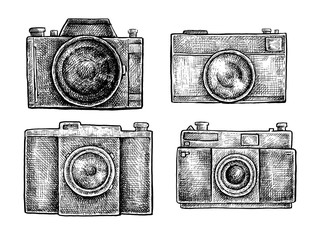 Set of ink hand drawn vintage cameras sketches