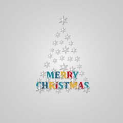 Merry Christmas tree greeting card. Paper design. Vector