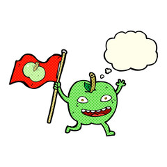 cartoon apple with flag with thought bubble