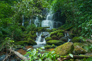Mun Daeng Waterfall, the beautiful waterfall in deep forest at Phu Hin Rong Kla National Park, Phitsanulok, Thailand