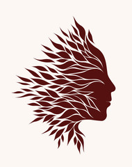 stylized silhouette of the head of the girl patterned leaves