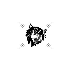 Black and white monochrome emblem, symbol, logotype, sign, badge, sticker, poster of a bear, dog, wolf. Identity, T-shirt, textile, cloth, apparel, tattoo, print usage