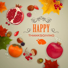 Vector Illustration of an Thanksgiving Background with Fruits and Leaves