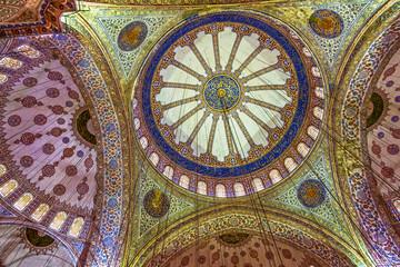 Ceiling of Blue Mosque, Sultanahmet, Istanbul, Turkey