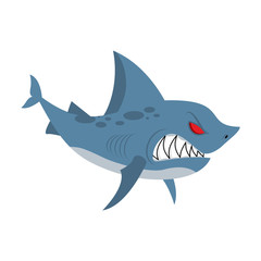 Angry shark. Marine predator with large teeth. Deep-water denize