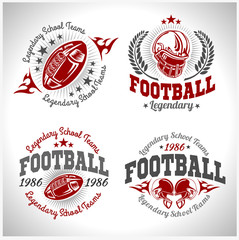 American football vintage vector labels for poster, flyer or t