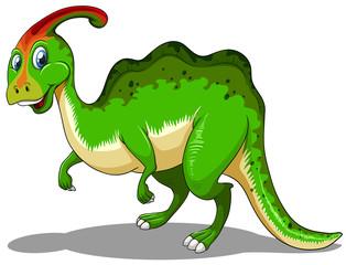 Green dinosaur standing on white