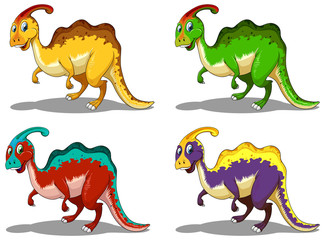 Parasaurolophus in four colors