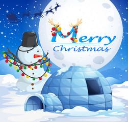 Christmas theme with snowman and igloo