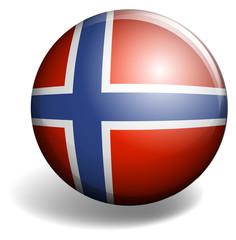 Norway flag on round badge