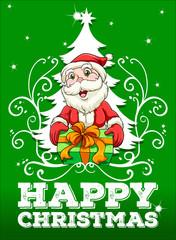 Happy Christmas card with santa.