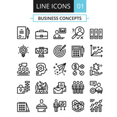 Thin line icons set. Flat design concept for business, digital marketing, team management, business presentation, corporate strategy, progress. Vector icons set, outline pictograms collection. Set 1