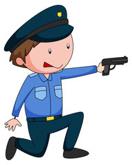 Policeman in uniform shooting a gun