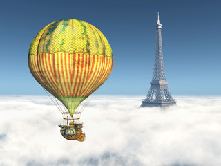 Fantasy Hot Air Balloon and Eiffel Tower