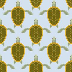 Flock of sea turtles. Water turtle seamless pattern. Vector back
