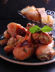 baked chicken legs marinated in mint