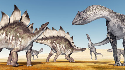 Allosaurus attacks the Stegosaurus