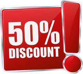 50% DISCOUNT / realistic modern glossy 3D vector eps banner in red with metallic border and exclamation mark