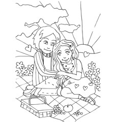 the youth celebrates love, first love, first kiss young hand drawing for coloring  isolated on the white background