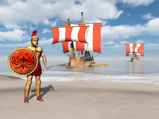 Hoplites and galleys of ancient Greece